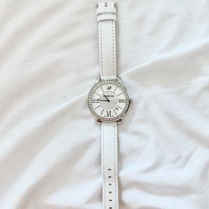 Swarovski watch with crystals in white